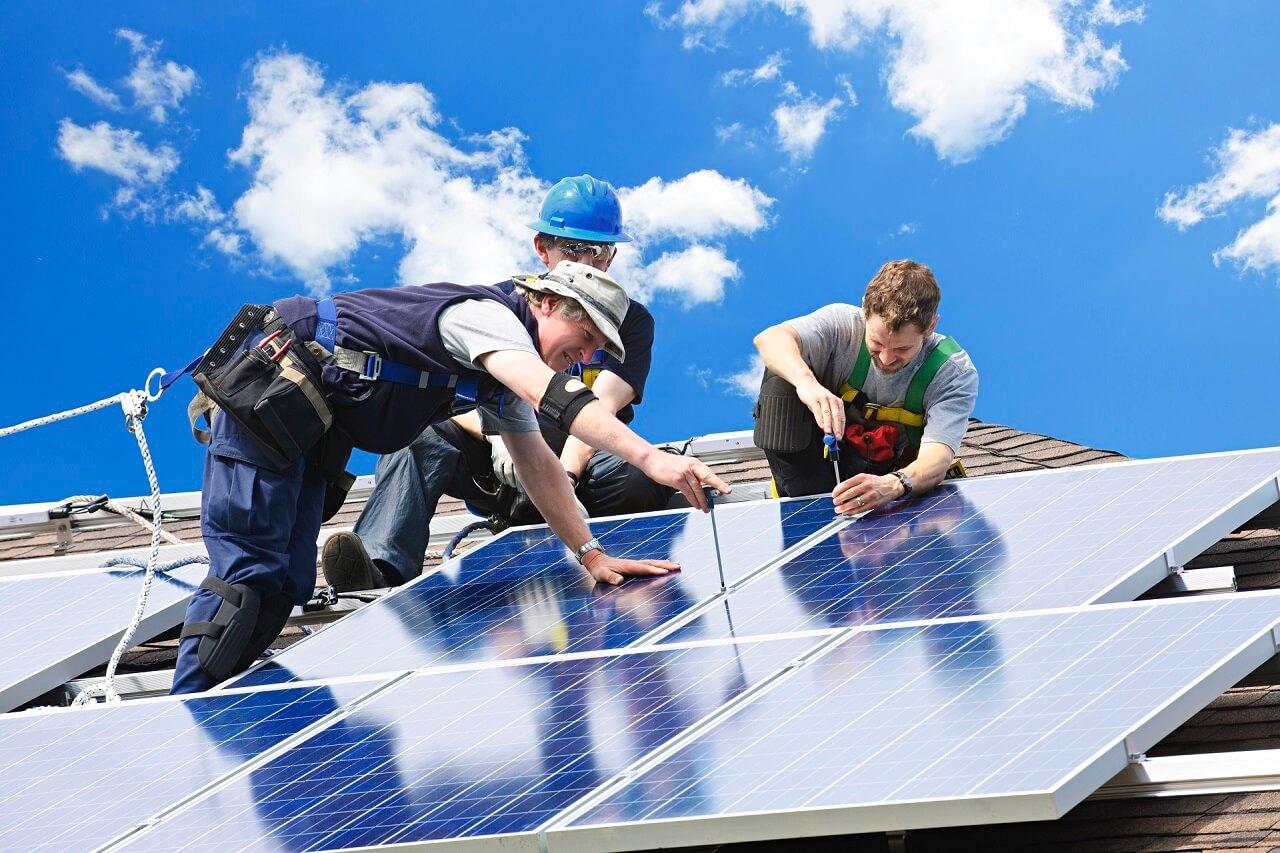 solar panels installed on house near beach