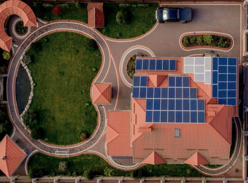 Aerial,Top,View,Of,New,Modern,Residential,House,Cottage,With